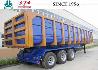 U Shaped Semi Dump Trailers , 33 CBM 3 Axle Trailer With Spring Suspension